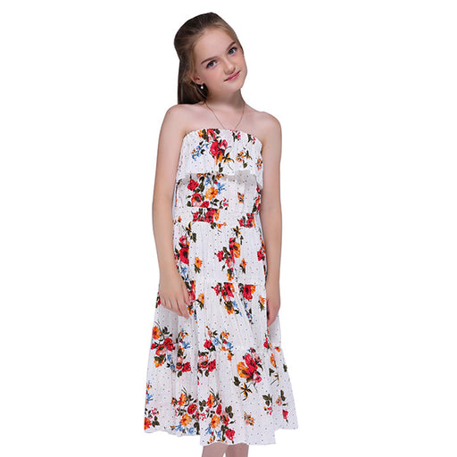 Red Flowres Beach Dress - For Kids