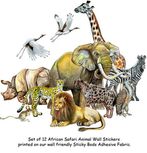 Set of 12 African Safari Animal Wall Stickers