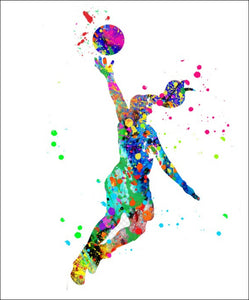 Basketball Wall Art #F8 - 45cm x 56cm Removable and Repositionable Wall Decal