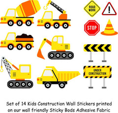 Set of 14 Kids Construction Wall Stickers