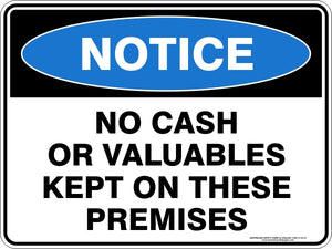 Notice Sign - No Cash or Valuables
