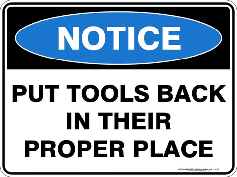 Notice Sign - Put Tools Back