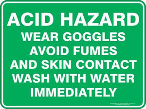 Emergency Sign - Acid Hazard