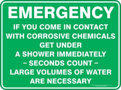 Emergency Sign - Contact with Corrosive Chemicals