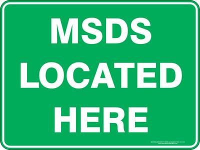 Emergency Sign - MSDS Located Here