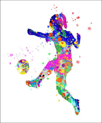 Soccer Girl Wall Art #1 - 45cm x 56cm Removable and Repositionable Wall Decal