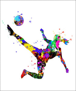 Soccer Girl Wall Art #3 - 45cm x 56cm Removable and Repositionable Wall Decal