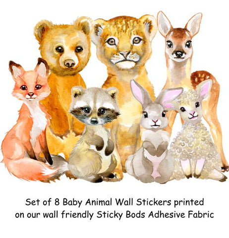 Set of 8 Baby Animal Wall Stickers
