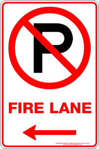 Parking Sign - Fire Lane Arrow Left