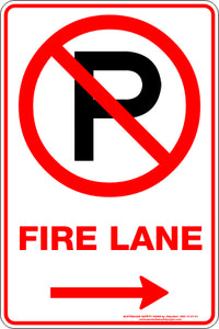 Parking Sign - Fire Lane Arrow Right
