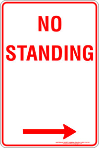 Parking Sign - No Standing Any Time Right