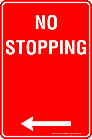 Parking Sign - No Stopping Left