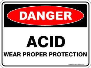 Danger Sign - Acid Protection Required