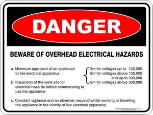 Danger Sign - Beware Overhead Electrical