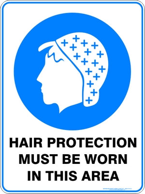Mandatory Sign - Hair Protection Must Be Worn