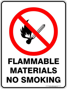Prohibition Sign - Flammable Materials No Smoking