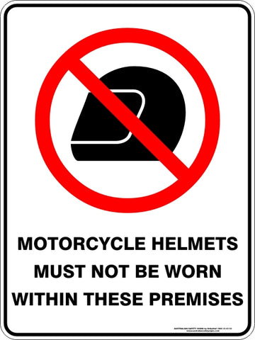 Prohibition Sign - Motorcycle Helmets