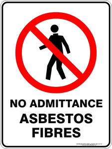 Prohibition Sign - No Admittance Asbestos Fibres