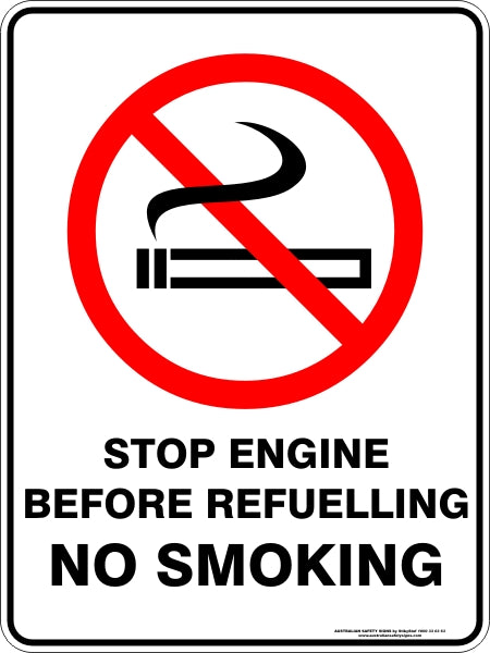 Prohibition Sign - Stop Engine Before Refuelling