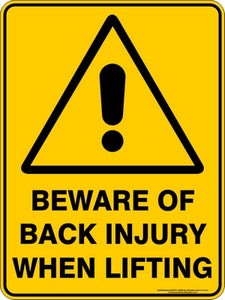 Warning Sign - Beware of Back Injury