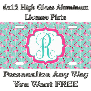 607f501fa46f Flamingo Beach Salt Life Pattern Sign Custom Monogram License Plate Auto  Car Tag Personalize Background Wallpaper Aluminum Novelty