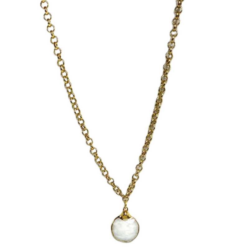 24k Gold Plated Moonstone Necklace