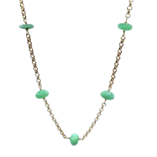24k gold plated necklace with Chrysoprase stones