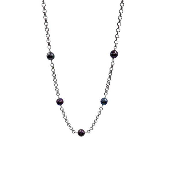Silver Plated Necklace with Black Pearl