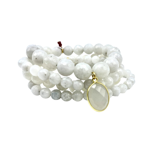 Moonstone Bracelet Stack with Medium Moonstone Charm