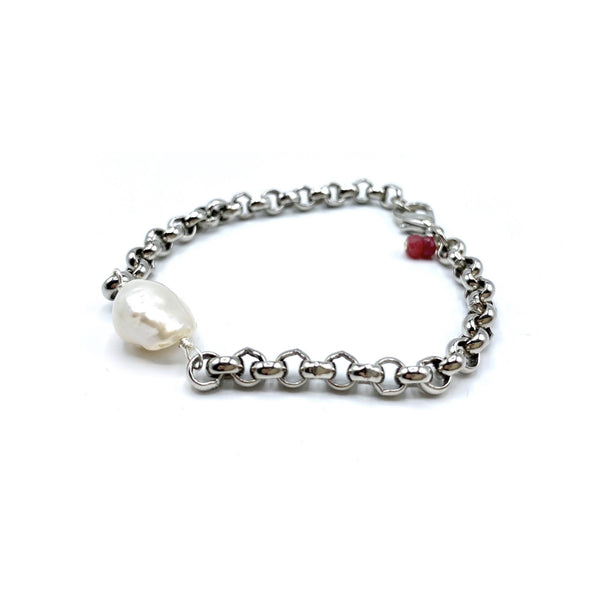 Silver plated & Pearl Bracelet