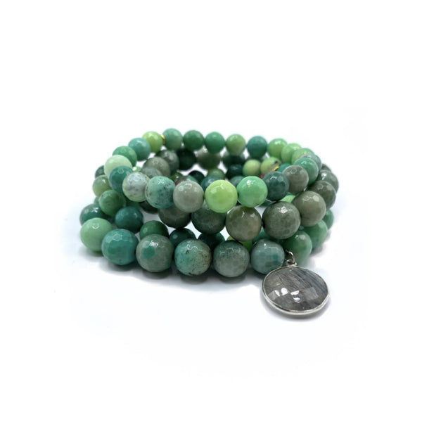 Chrysoprase Bracelet Stack with Large Smokey Quartz Charm