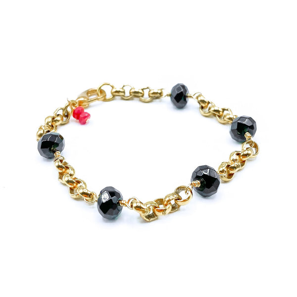 24k Gold Plated Black Onyx Bracelet
