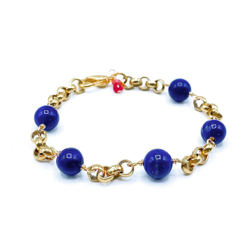 24k Gold Plated Blue Lapis Bracelet