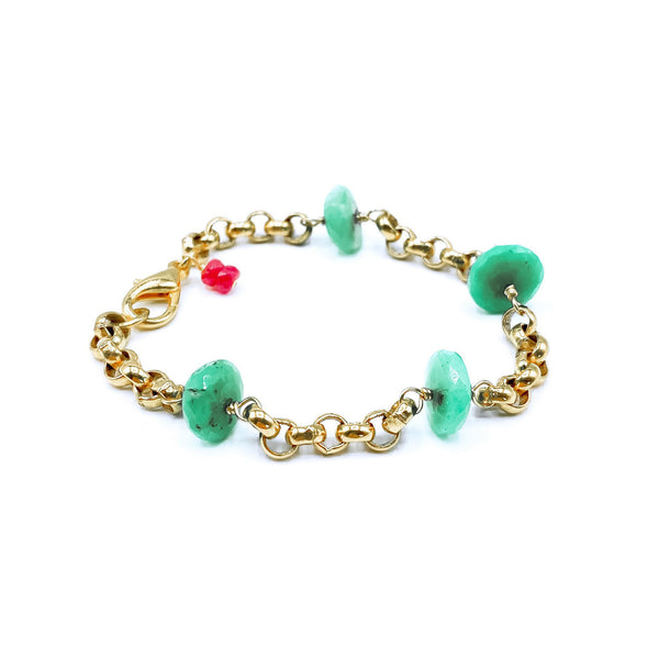 24k Gold Plated Chrysoprase Bracelet