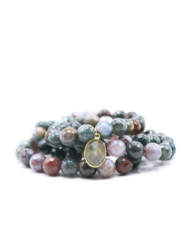 Flower Amazonite & Smoky Quartz Bracelet Stack