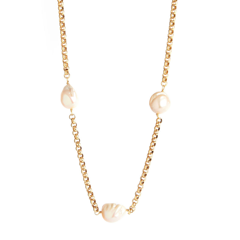 Baroque Pearl & Chain Necklace (Long)