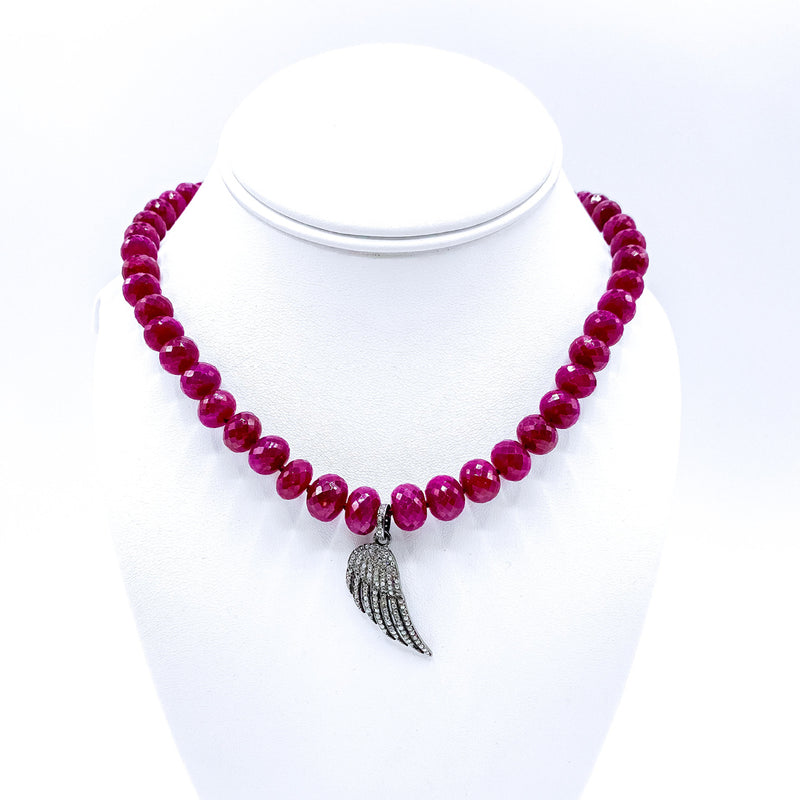 Faceted Ruby Necklace with Diamond Paved Angel Charm