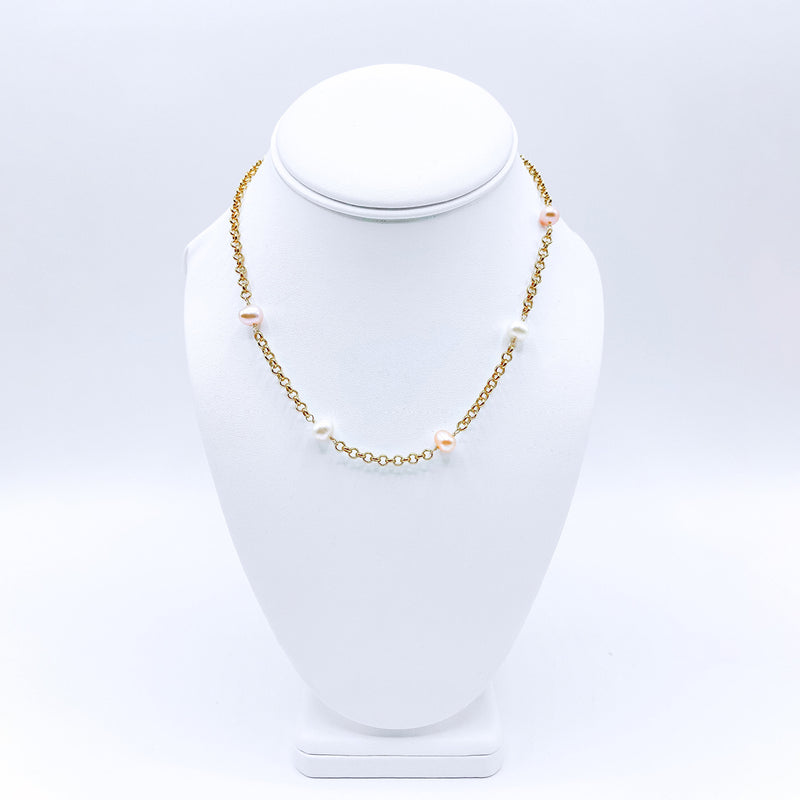 24k Gold Plated Necklace with Multi-Colored Pearls (short)