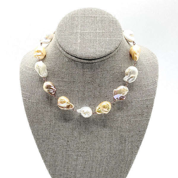Multi-colored baroque Pearls with Pave Diamond Clasp Necklace