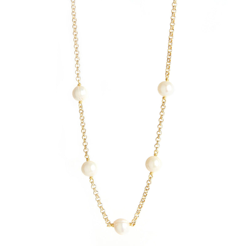 Pearl & Chain Necklace (Short)