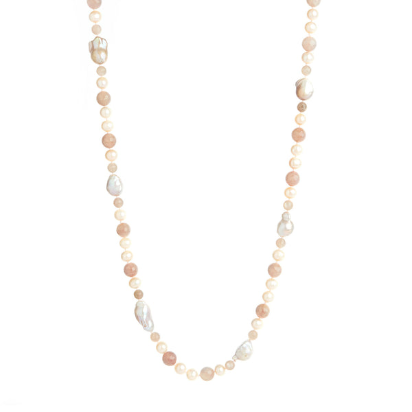 Rose Quartz & Baroque Pearl Necklace (Extra-Long)
