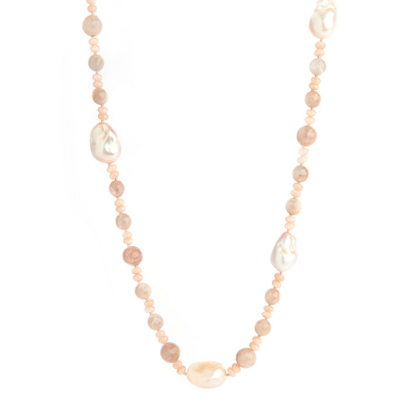 Rose Quartz & Baroque Pearl Necklace