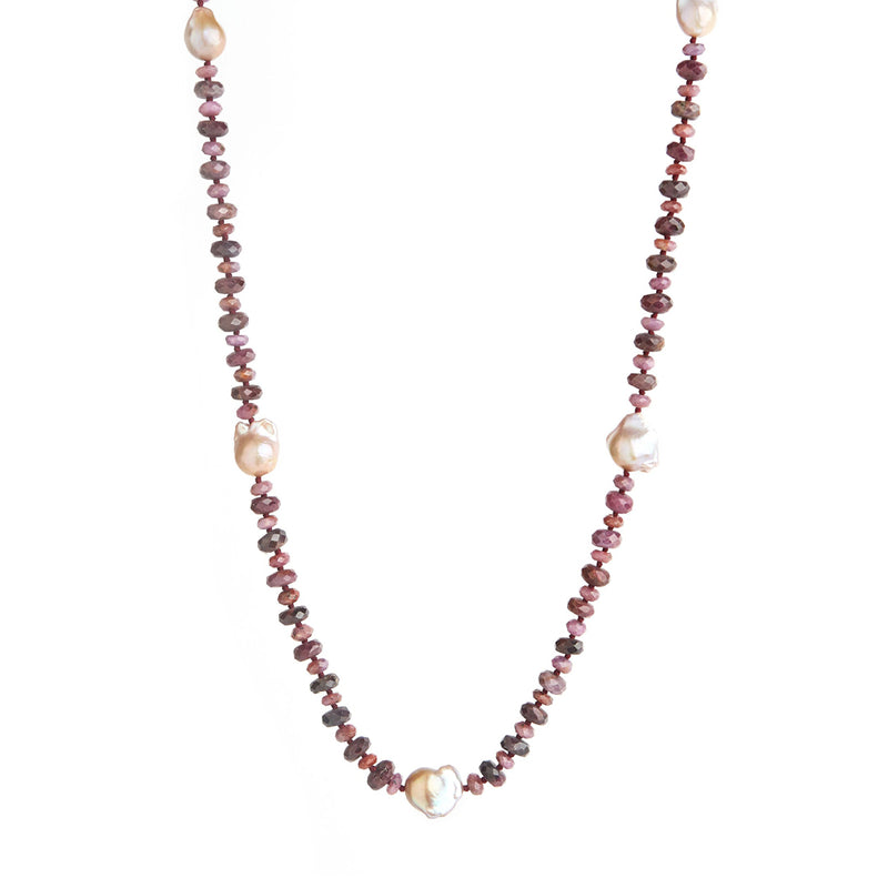 Ruby & Baroque Pearl Necklace