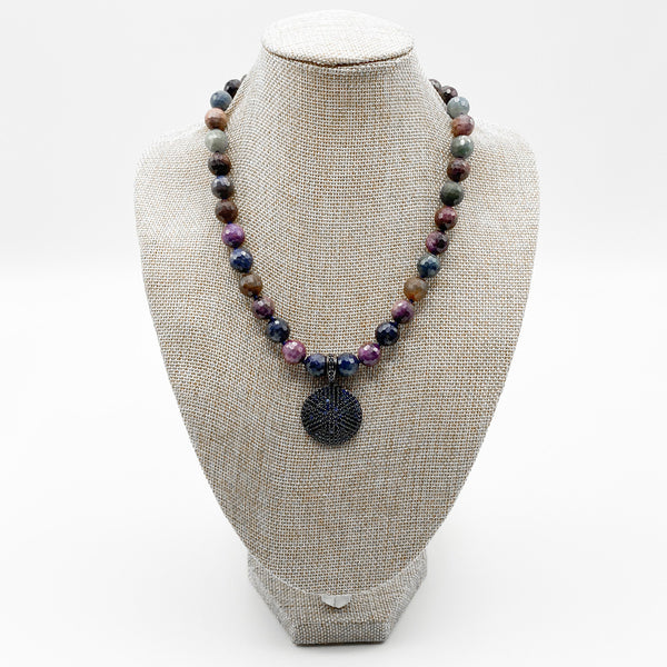 Faceted Sapphires & Rubies Necklace