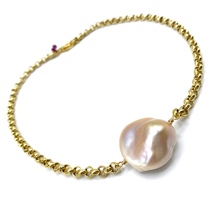 Single Baroque Pearl Necklace (different color pearl options)