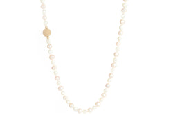 Pink & White Pearl with Stingray Charm Necklace