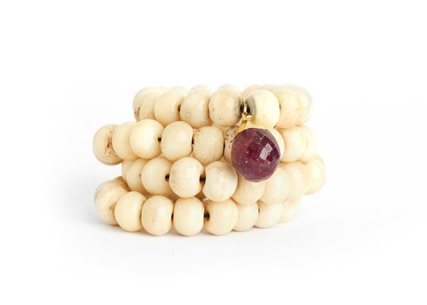 White Bone & Ruby Bracelet Stack