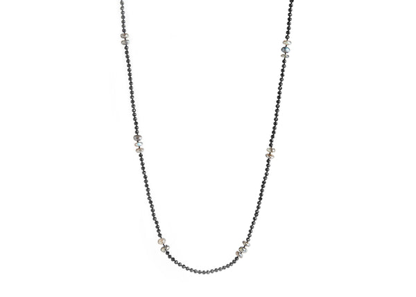 Black Spinel & Moonstone Necklace (Extra-Long)