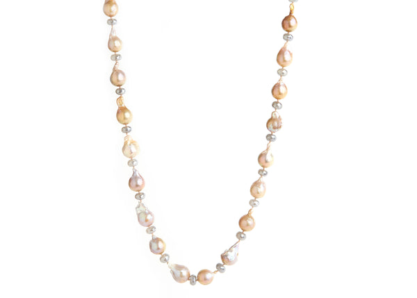 Multi-Colored Pearl & Moonstone Necklace