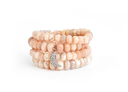 Pink Moonstone & Diamond Charm Bracelet Stack
